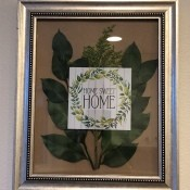 Home Sweet Home Framed Leaves Wall Hanging - framed artwork and greenery wallhanging