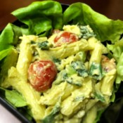 Avocado Basil Pasta Salad in bowl