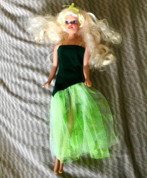 Identifying a Possible Barbie Doll - fashion doll wearing a dress with a black asymmetrical top and green net skirt