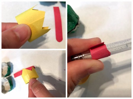 Kid's Frog Trinket Box - roll the crown, check fit and then tape and then wrap the red strip around a pen to create the tongue