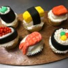 Fondant Sushi Cupcake Toppers - place one piece of sushi on top of each cupcake