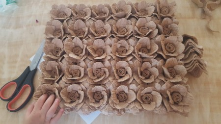 Making Egg Carton Flowers - an array of finished egg tray flowers