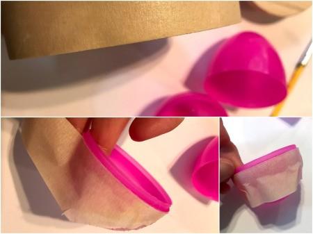 Upcycled Plastic Egg Mini Planter  - apply tape around the rim of the egg