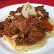 Mushroom Pepper Beef Bolognese on plate