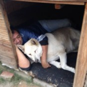 A man and his dog sleeping together in a large dog house.