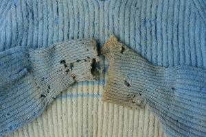 An old sweater with holey worn out arms.