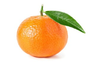 A tangerine on a white background.