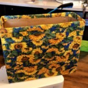 Covering a Recycled Box With Fabric - finished box covered with sunflower fabric