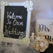 A chalkboard celebrating a wedding.