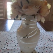 Rubber Band Art Painted Vase - white vase with flowers