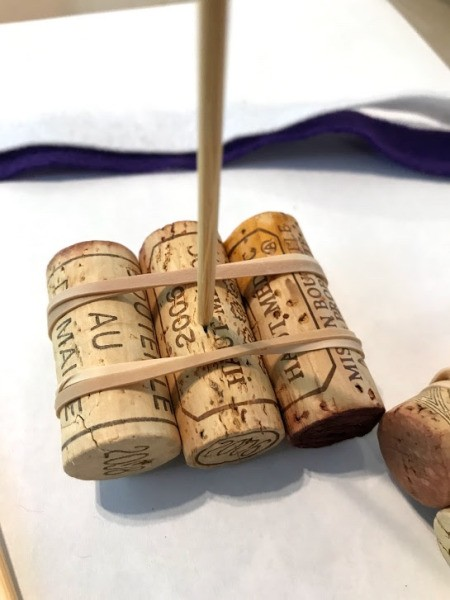 3 Step Bath Cork Boat Toy - secure skewer into the center cork