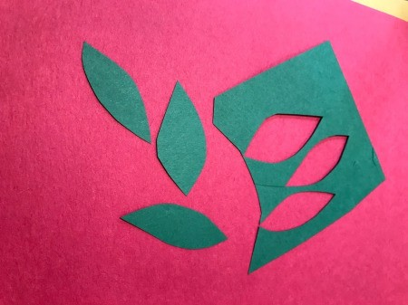 Heart Flowers Decoration - cut leaves from green paper