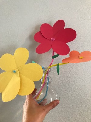 Heart Flowers Decoration - paper flowers in a small glass vase