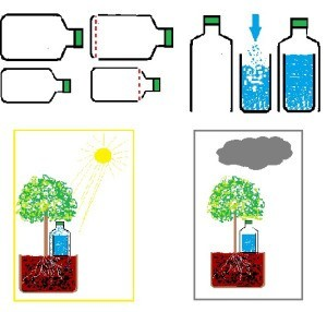 A diagram showing a plant watering system for on vacation.