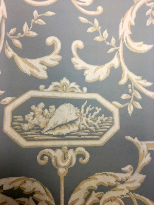 Finding Discontinued York Wallpaper - blue background with floral and shell motif