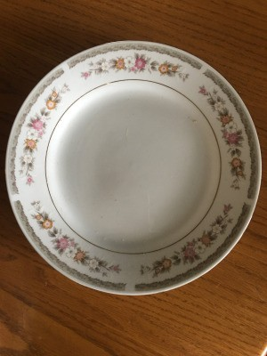 Identifying Dinnerware Brand - white plate with 5 areas of floral pattern and gold trim