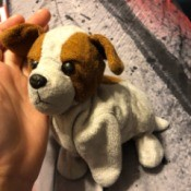 Identifying an Old Stuffed Dog - brown and white stuffed puppy