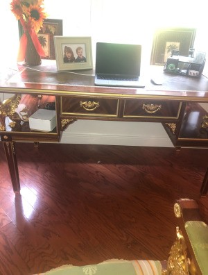 Identifying a Napoleon Imperial Style Desk - front view of desk with partial view of chair in foreground