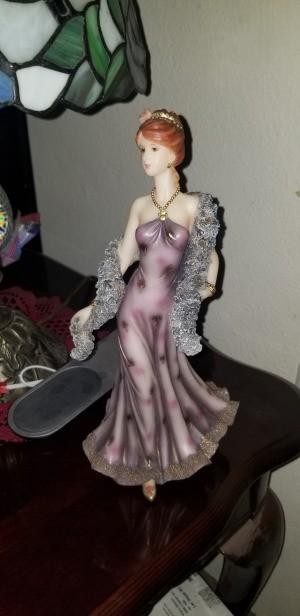 Value of a Regency Fine Arts Figurine - woman in a purple evening gown