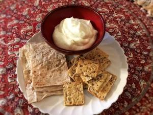 Creamy Garlic Sauce & crackers