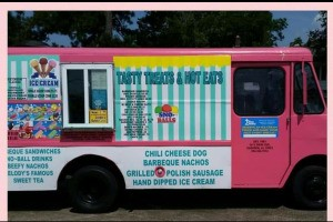 Ice Cream Truck Name Ideas - bubble gum pink truck with decal of offerings