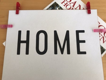 "Stencil ""Home"" Art -clip the word print out to the cardstock"