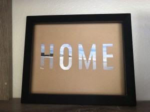 "Stencil ""Home"" Art - finished artwork"