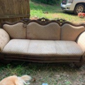 Identifying an Antique Sofa - upholstered couch with wood trim