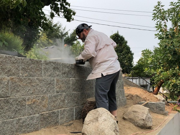 New Retaining Wall and Early Plantings - building in process