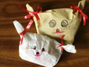 Coffee Filter Animal Candy Bags - two coffee filter candy bags