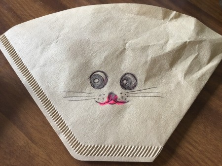 Coffee Filter Animal Candy Bags - for cone filters draw face on one side