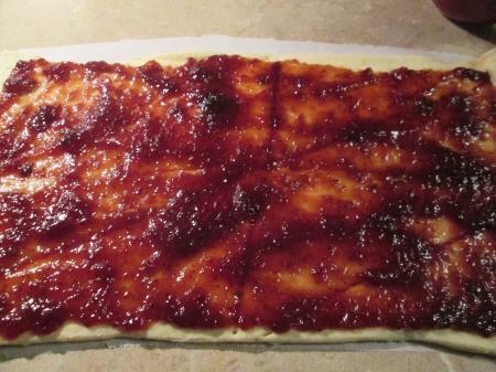 jam spread on dough