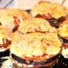 Cheesy Eggplant Stacks on pla