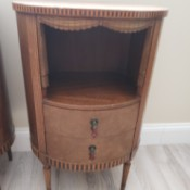 Identifying Round Antique Tables - round two drawer table with a shelf space carved to look like a stage with curtains