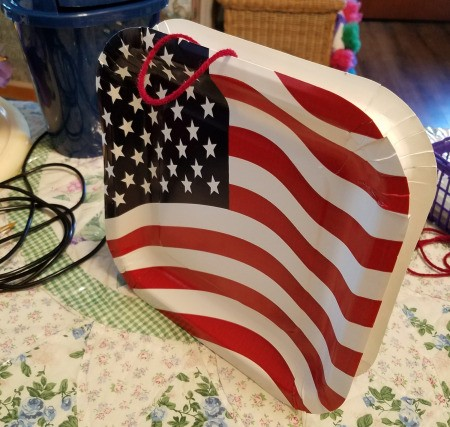 Patriotic Window Display - glue string in place then glue two plates together