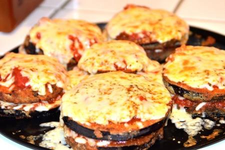 baked Cheesy Eggplant Stacks