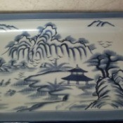 Value of a Bombay China Platter - blue and white Asian motif rectangular platter