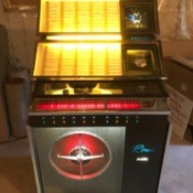 Value of a 1962 Rowe AMI Jukebox  - jukebox with selection display lighted up