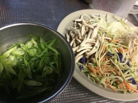 sliced onions & green onions