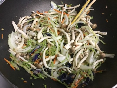 cooking veggies in pan