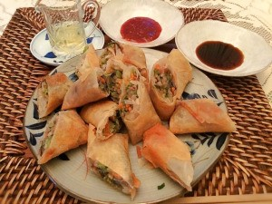 Veggie Egg Roll pieces on plate