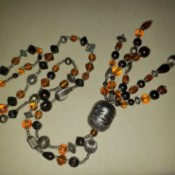 A colorful beaded necklace.