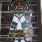 Value of a Stained Glass Panel - Native American likeness in stained glass panel or window, unclear which