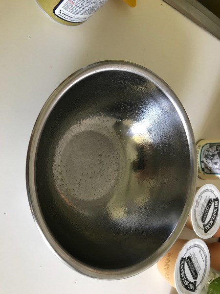 sprayed baking bowl with non-stick spray