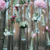 Creative glass flower vase Wedding Decorations hanging in the forest
