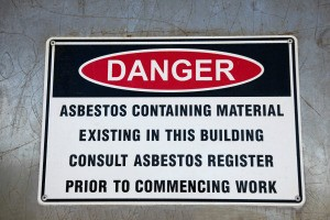 Informational Sign about asbestos danger