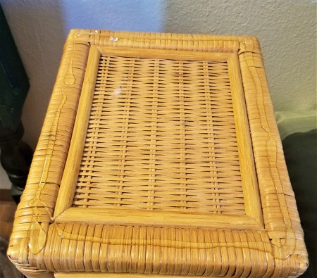 Customizing a Wicker Nightstand - ribbons of glue on top of nightstand