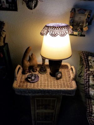 Customizing a Wicker Nightstand - new tabletop with bedside light on