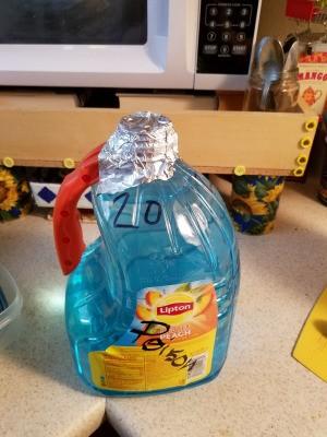 Aluminum foil to replace a lost bottlecap.