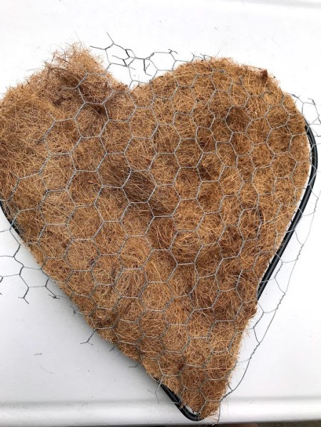Heart Succulent Wreath - cut coco lining to size and cut the piece of chicken wire slightly larger than the heart shape